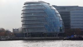 London City Hall, England. LONDON, ENGLAND, NOVEMBER 15, 2012: City Hall - is the headquarters of the Greater London Authority which comprises the Mayor of stock video