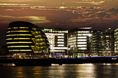 London city hall at night. New London city hall at night from Thames river Royalty Free Stock Photo