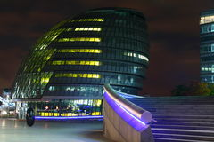 London City hall at night. A colourful photo of London at night with the river Thames stock photography