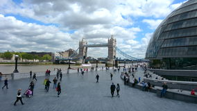 London City Hall and Tower bridge in London England UK. LONDON - MAY 13 2015:London City Hall and Tower bridge in London England UK.It's the headquarters of the stock video footage
