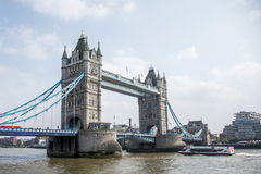 London City historic big Tower bridge with boat Stock Photography