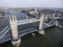 London City historic Tower bridge aerial shot 2 Stock Photos