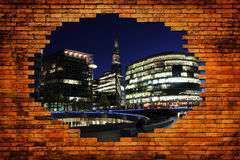 London city in hole with wall brick Royalty Free Stock Photography