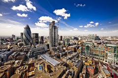 London City Landscape. From a high view of the City of London, looking West and across the tall buildings towards St. Paul's Cathedral Royalty Free Stock Photos