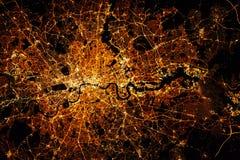 LONDON city lights map at night. Satellite view