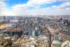 LONDON. City of London aerial view, office buildings and roads Stock Photos