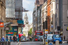 LONDON, City of London street leading to the St. Paul's cathedral. LONDON UK - SEPTEMBER 19, 2015:   City of London street leading to the St. Paul's cathedral Royalty Free Stock Photos