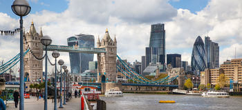 LONDON,  City of London and Tower bridge  from the Tower bridge. Stock Photos