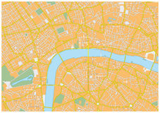 London city map. Detailed road map of the British capital London vector illustration
