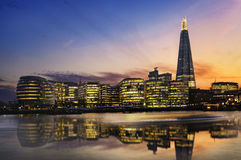 London city. New London city hall at sunset, panoramic view from Thames river Royalty Free Stock Photo