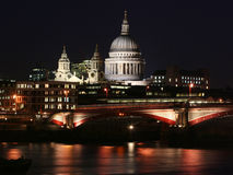 London city - night scene. Night shot of St. Paul Cathedral stock image