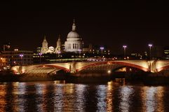 LONDON CITY - NIGHT SCENE. Night view on London bridge and city, horizontal Stock Photography