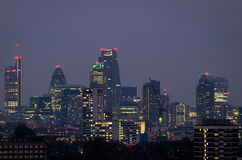 London, city night skyline. From Parliament Hill royalty free stock photo
