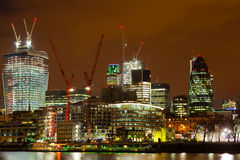 London the City by night. The London City from Thames Stock Images