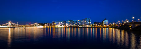 London  city panorama. Albert Bridge and Battersea Bridge Thames River by night London England Royalty Free Stock Images