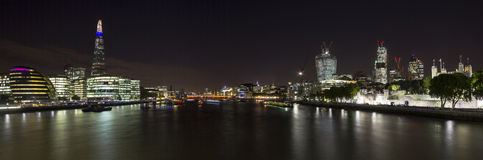 London City Panoramic. A Panoramic of London City showing many of the landmarks such as the Shard, Gherkin, City Hall, St Pauls, Walkie Talkie, Tower of London stock photography