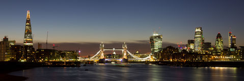 London City Panoramic. Panoramic of the City of London with Tower Bridge, The Shard, Walkie Talkie, Gherkin and other skyscrapers Stock Photography