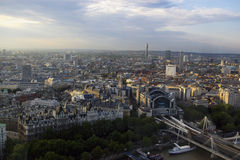 London city panoramic view. A panoramic view from london eye on the city and charing cross station in evening light Royalty Free Stock Photography