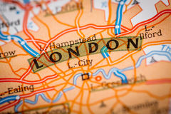 London City on a Road Map. Map Photography: London City on a Road Map royalty free stock photo
