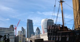 London city scyscrapers and Golden Hind Royalty Free Stock Photo