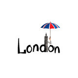 London city sign lettering, British jack flag colored umbrella and Big Ben tower Royalty Free Stock Image
