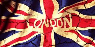 London city sign. On United Kingdom flag Stock Image