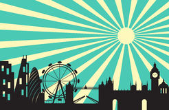 London city silhouette skyline behind sun ray Royalty Free Stock Images