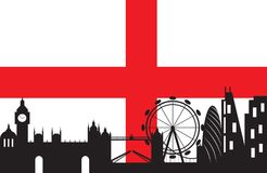 London city silhouette skyline with England flag. London skyline with England flag background,London city silhouette ,Vector illustration vector illustration