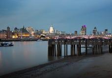 London city skyline. London skyline at dusk by the river thames stock photos