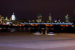 London City Skyline. Night time skyline of city of London showing st Paul royalty free stock photography