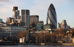 London city skyline. From Tower Bridge Royalty Free Stock Image