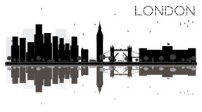 London City Skyline Black And White Silhouette With Reflections Stock Photo