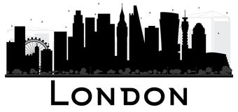 London City skyline black and white silhouette. Stock Photo