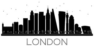London City skyline black and white silhouette. Royalty Free Stock Photography