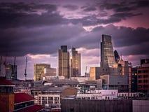 London City skyline at dusk Royalty Free Stock Images