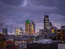 London City skyline at dusk Royalty Free Stock Photo