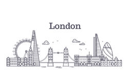 London city skyline with famous buildings, tourism england landmarks outline vector illustration Royalty Free Stock Images