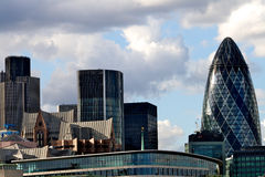 The London city skyline with the Gherkin tower. The London city skyline with the 30 Saint Mary Axe, the Gherkin tower Stock Photo