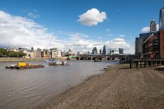 London City Skyline near Southwark Bridge. Over the River Thames Royalty Free Stock Image