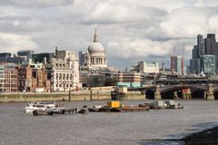 London City Skyline near Southwark Bridge. Over the River Thames Stock Images