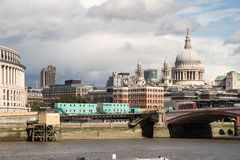 London City Skyline near Southwark Bridge. Over the River Thames Stock Photos