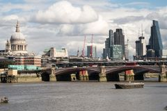 London City Skyline near Southwark Bridge. Over the River Thames Royalty Free Stock Photo