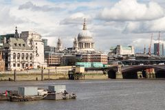 London City Skyline near Southwark Bridge. Over the River Thames Royalty Free Stock Images