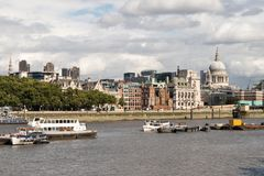 London City Skyline near Southwark Bridge. Over the River Thames Royalty Free Stock Photos