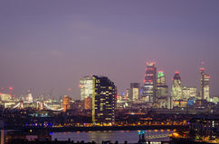 London, city skyline at night Stock Image
