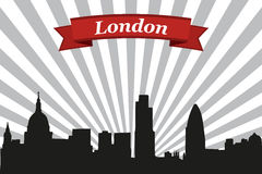 London city skyline with rays background and ribbon Stock Images