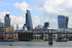 London city skyline. From the river Thames Royalty Free Stock Photo