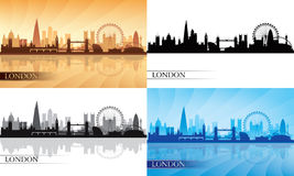 London city skyline silhouette set Royalty Free Stock Photos