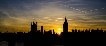 London city skyline at sunset Royalty Free Stock Image