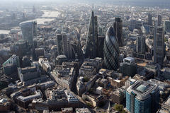 London city skyline view from above. A view of london city skyline from a helicopter stock photography